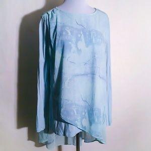 H by Halston Layered Asymetrical Sea Blue Tunic
